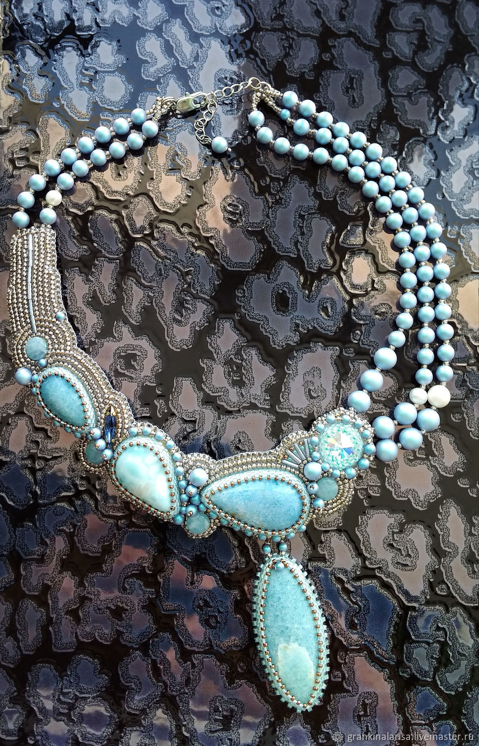 51f984f211aec Necklaces & Beads handmade. Livemaster - handmade. Buy Necklace with  larimar and violane.