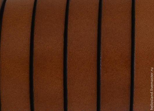 Для украшений ручной работы. Ярмарка Мастеров - ручная работа. Купить Кожаный шнур плоский 10 мм, св.коричневый. Handmade.