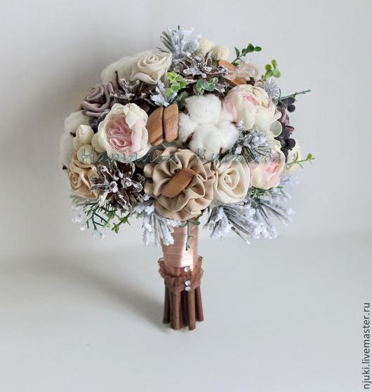 Свадебные цветы ручной работы. Ярмарка Мастеров - ручная работа. Купить Зимний букет невесты. Handmade. Коричневый, бутоньерка для жениха
