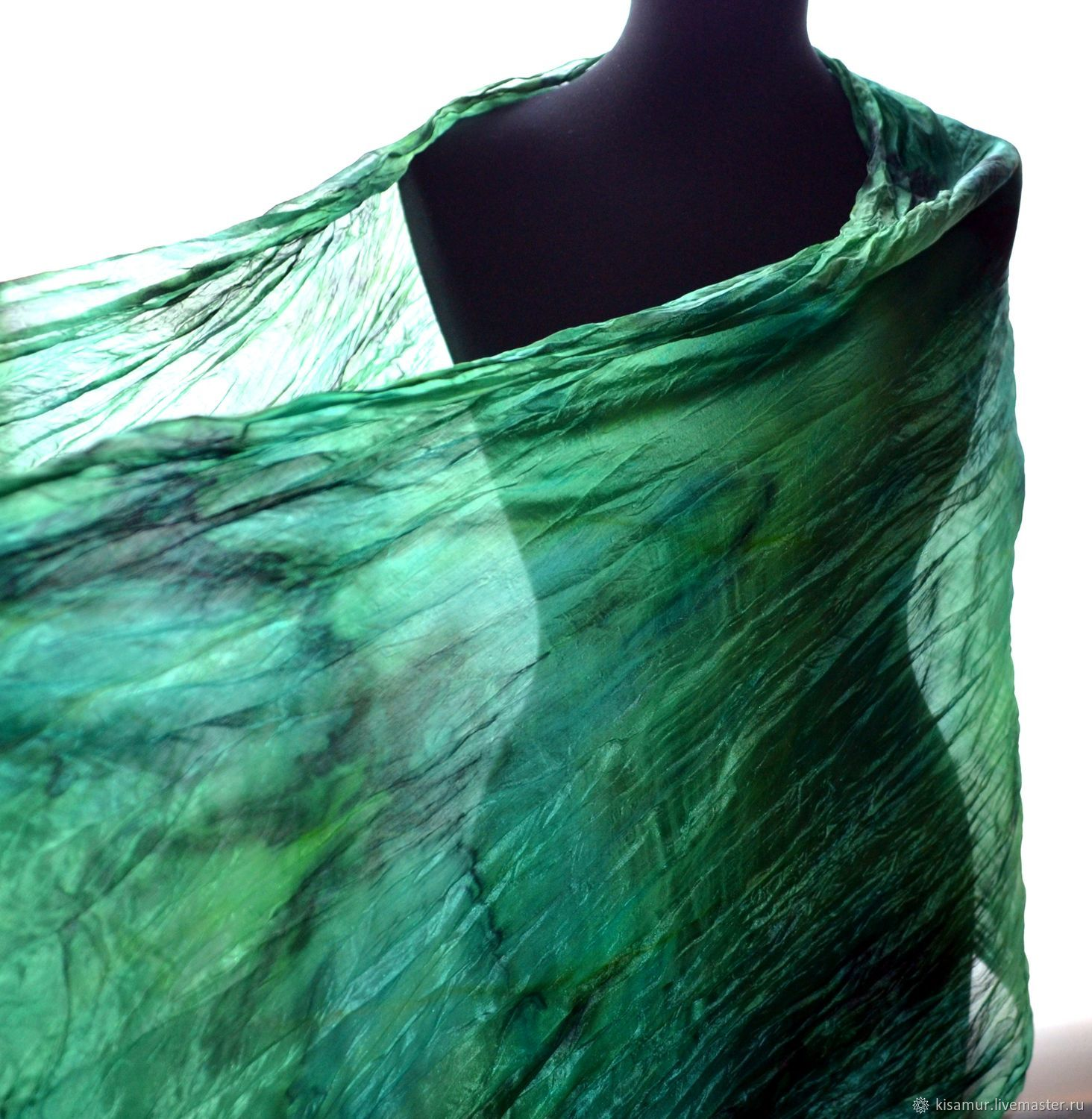 Scarf stole green emerald with black pressed silk, Scarves, Vyazma,  Фото №1