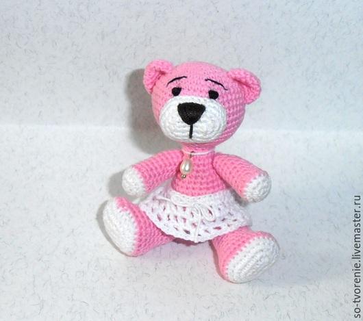 Миниатюра ручной работы. Ярмарка Мастеров - ручная работа. Купить Розовая мишка Жемчужинка (8,5 см). Handmade. Розовый