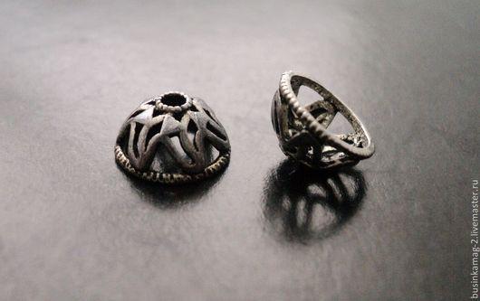 Для украшений ручной работы. Ярмарка Мастеров - ручная работа. Купить Шапочки серебро 925 проба оксидированные, 9мм. Handmade.