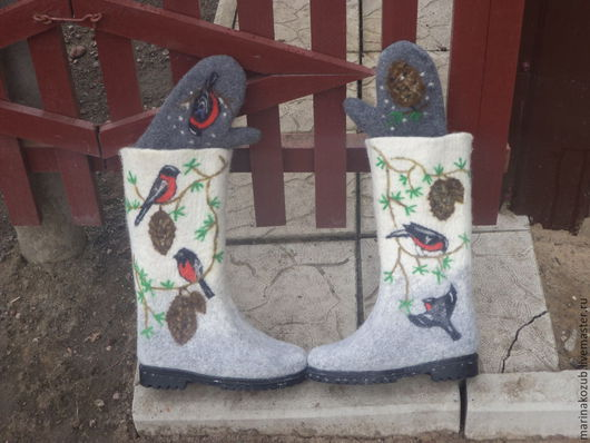 Обувь ручной работы. Ярмарка Мастеров - ручная работа. Купить валенки и варежки женские. Handmade. Белый, валенки и варежки