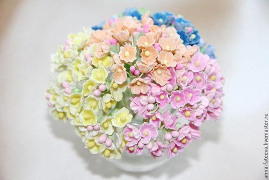 Открытки и скрапбукинг ручной работы. Ярмарка Мастеров - ручная работа. Купить Цветы-мини бумажные (4 расцветки), 5 в 1. Handmade.