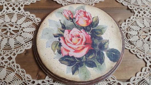"""Кухня ручной работы. Ярмарка Мастеров - ручная работа. Купить Подставка-панно""""Винтажные розы"""". Handmade. Комбинированный, интерьер, подарок на новый год"""