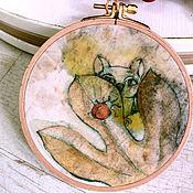 """Картины и панно ручной работы. Ярмарка Мастеров - ручная работа декоративное панно на хлопке """"Совёныш"""". Handmade."""