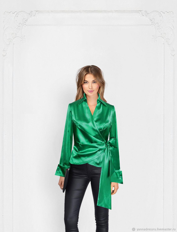"""Блуза на запах  """"Business Lady emerald"""", Блузки, Казань,  Фото №1"""