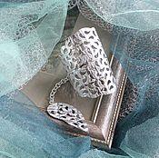 Украшения handmade. Livemaster - original item Leather bracelet Silver-white. Handmade.