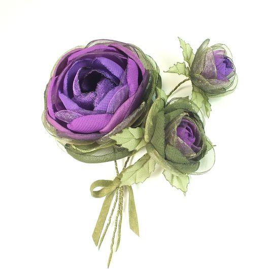 Броши ручной работы. Ярмарка Мастеров - ручная работа. Купить Розы Фиолетовой Долины. Брошь с цветами из ткани. Букет. Handmade.