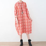 Одежда handmade. Livemaster - original item Printed Dress large size / shirt. Handmade.