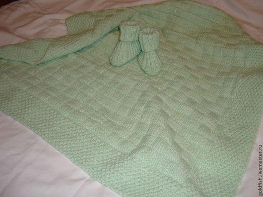 """Пледы и одеяла ручной работы. Ярмарка Мастеров - ручная работа. Купить Плед """"Плетёнка"""". Handmade. Плед в коляску, белый"""