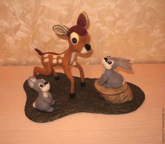 Олененок Бэмби и его друзья. Валяные герои мультфильмов. Валяные зайцы