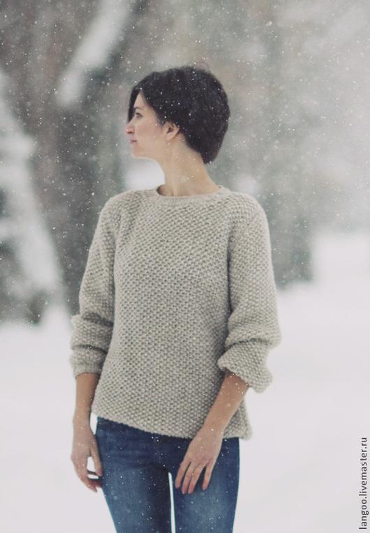 """Кофты и свитера ручной работы. Ярмарка Мастеров - ручная работа. Купить Свитер """"Снежность"""". Handmade. Бежевый, вязаный свитер, оверсайз"""