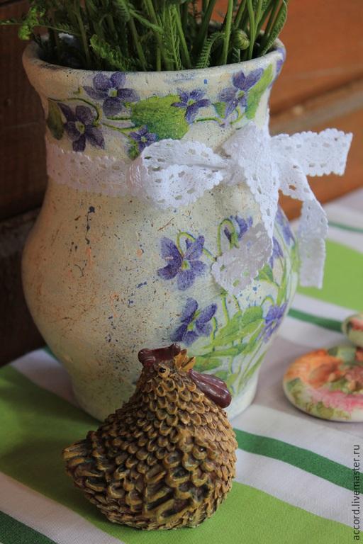 Декоративная посуда ручной работы. Ярмарка Мастеров - ручная работа. Купить Старинная крынка. Handmade. Старинная крынка, крынка с фиалками