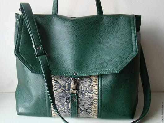 Женские сумки ручной работы. Ярмарка Мастеров - ручная работа. Купить Сумка А-ля портфель. Handmade. Тёмно-зелёный