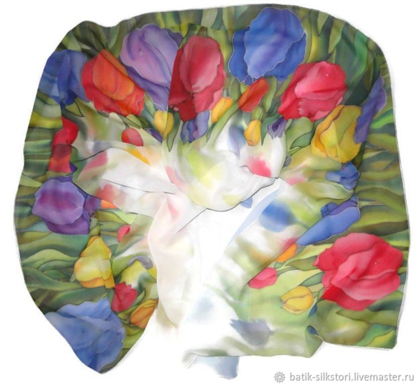 Batik scarf rainbow, Scarves, Moscow,  Фото №1
