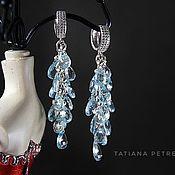 Украшения handmade. Livemaster - original item Blue topaz earrings, 925 silver