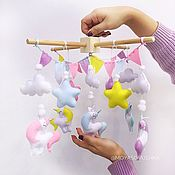 Работы для детей, handmade. Livemaster - original item The mobile in the crib felt - Edinorossy. Handmade.