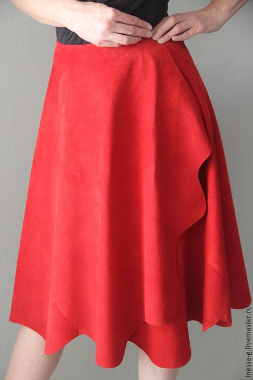 """Юбки ручной работы. Ярмарка Мастеров - ручная работа. Купить Юбка  """"Ароматная"""" для Татьяны. Handmade. Красная юбка, дизайнерская одежда"""