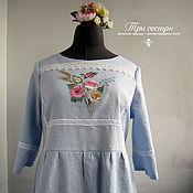 """Одежда ручной работы. Ярмарка Мастеров - ручная работа Платье """"Голубое с розами"""". Handmade."""