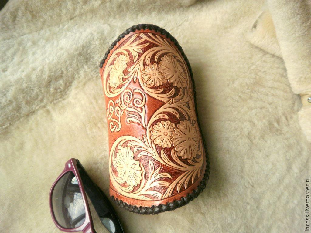 футляр для очков из натуральной кожи,очечник кожаный ,чехол для очков