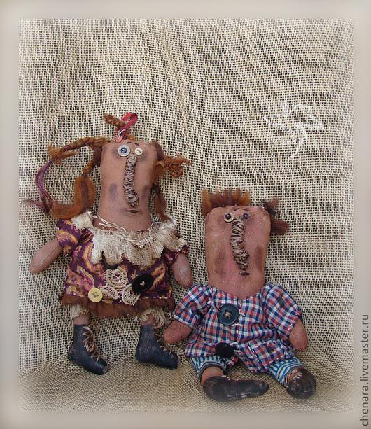 Человечки ручной работы. Ярмарка Мастеров - ручная работа. Купить и еще парочка тыковок. Handmade. Примитивная кукла, парочка, подарок, ситец