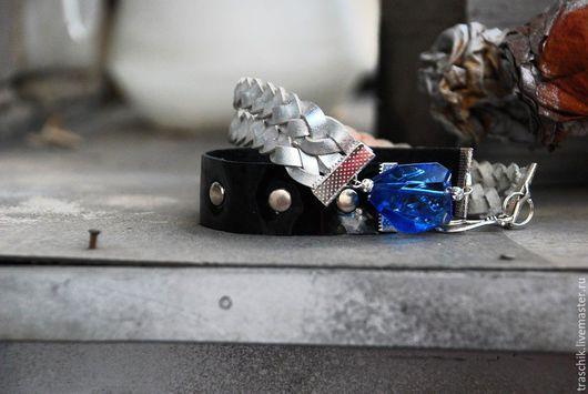 """Браслеты ручной работы. Ярмарка Мастеров - ручная работа. Купить Браслет """"Синее небо"""".. Handmade. Тёмно-синий, Кожаная сумка"""