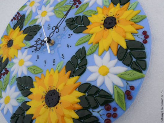 """Часы для дома ручной работы. Ярмарка Мастеров - ручная работа. Купить Часы из стекла, фьюзинг """"Подсолнечный рай"""". Handmade. Часы"""