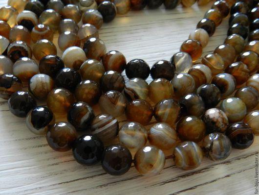 Круглые граненые бусины из оникса, диаметр 10 мм, цвет коричневый, полосатый (арт. 1975)