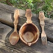 Посуда handmade. Livemaster - original item Set: Carved Mug, spoon and fork with Slavic ornaments.. Handmade.