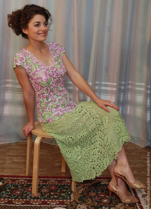 """Костюмы ручной работы. Ярмарка Мастеров - ручная работа. Купить Костюм вязаный """"Нежность"""", платье летнее, ирландское кружево. Handmade."""