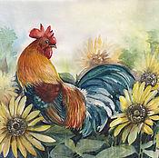 Картины и панно handmade. Livemaster - original item Watercolor rooster and sunflowers. Handmade.