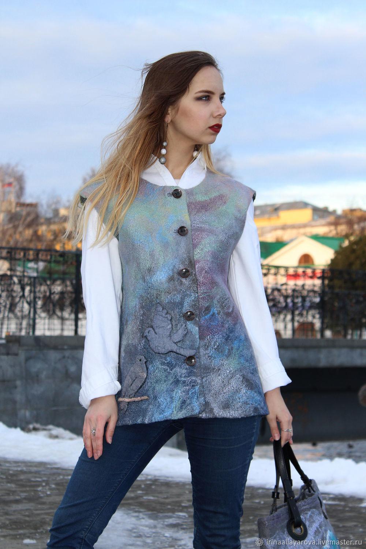 Felted vest Tell the birds, Vests, Verhneuralsk,  Фото №1
