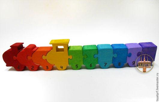 Развивающие игрушки ручной работы. Ярмарка Мастеров - ручная работа. Купить Паровозик с вагончиками. Handmade. Комбинированный, паровозик, цифры, счет