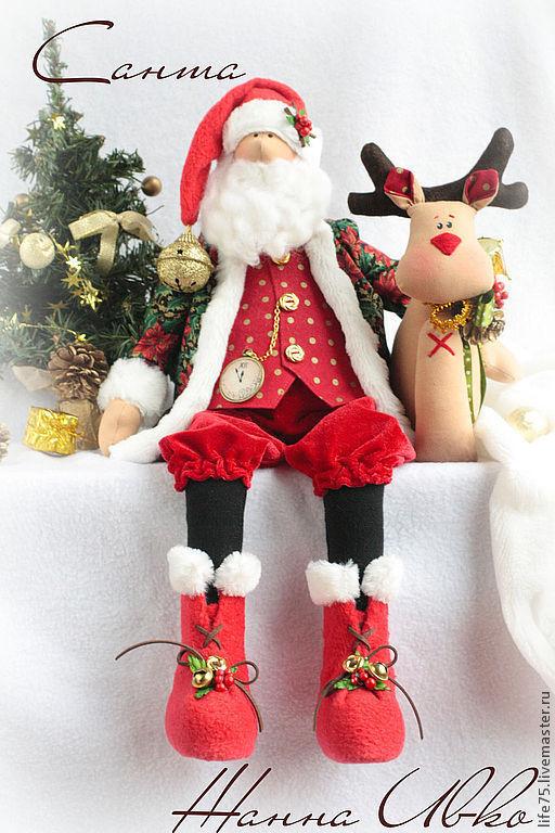 Коллекционные куклы ручной работы. Ярмарка Мастеров - ручная работа. Купить Санта. Handmade. Санта, подарок женщине, американский хлопок