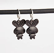 Украшения handmade. Livemaster - original item Small wooden rabbit earrings. Handmade.