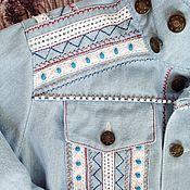 Джинсовая куртка в бохо стиле, жакет из денима, этническая вышивка.