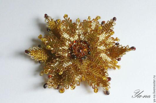 Заколки ручной работы. Ярмарка Мастеров - ручная работа. Купить Янтарный цветок из бисера. Handmade. Желтый, объемный цветок, золотистый