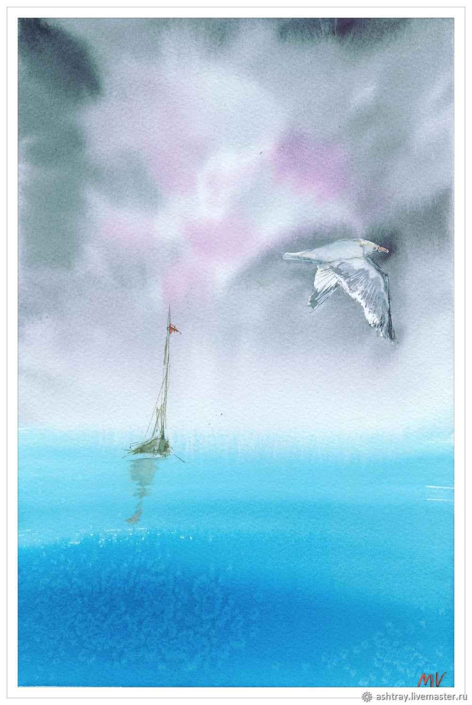 "Картины: ""Тихо-тихо"" картина акварелью, Пейзаж, Корсаков, Фото №1"