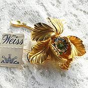 Винтаж ручной работы. Ярмарка Мастеров - ручная работа Брошь Золотой цветок,Weiss,США,бирка,клеймо,цветы,цветочек,антиквариат. Handmade.