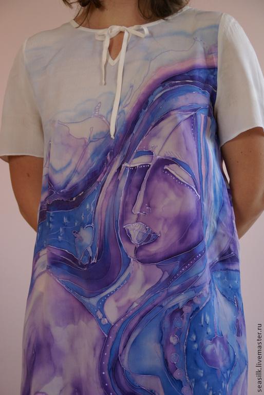 Платья ручной работы. Ярмарка Мастеров - ручная работа. Купить туника. Handmade. Фиолетовый, роспись по шелку, подарок для женщины, девушке