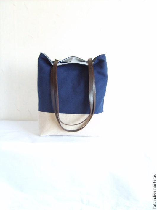Женские сумки ручной работы. Ярмарка Мастеров - ручная работа. Купить Сумка тоте из льна Темно-синяя волна. Handmade.