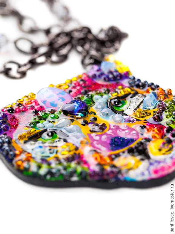 Necklaces & Beads handmade. Livemaster - handmade. Buy leopard.Beads, purple, yellow, natural stones, rhinestones, necklace leopard