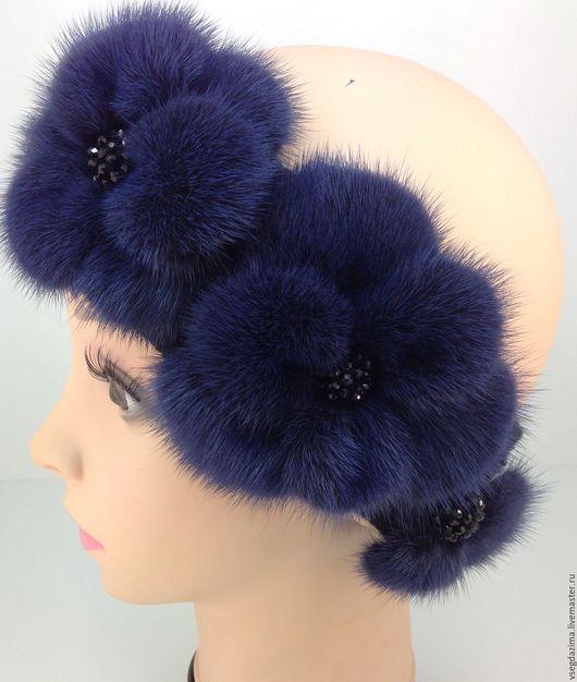 """Повязки ручной работы. Ярмарка Мастеров - ручная работа. Купить Повязка для волос """"Синий"""". Handmade. Тёмно-синий, головные уборы"""