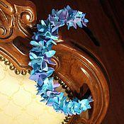 """Обручи ручной работы. Ярмарка Мастеров - ручная работа Ободок для волос """" Гортензия синяя"""". Handmade."""