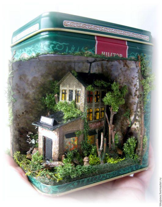 """Кукольный дом ручной работы. Ярмарка Мастеров - ручная работа. Купить Миниатюра в чайной коробочке """"Старый город"""". Handmade. Комбинированный"""