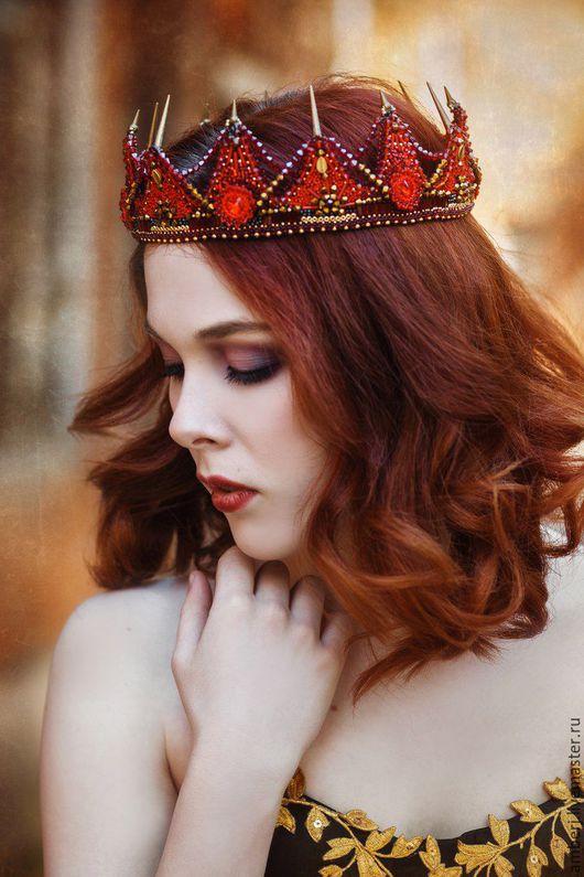 """Диадемы, обручи ручной работы. Ярмарка Мастеров - ручная работа. Купить Корона """"Electra"""". Handmade. Ярко-красный, бисер"""