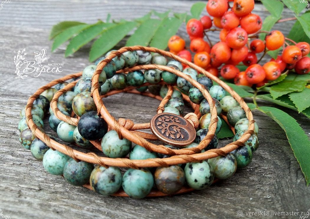 Bracelet-winding of Jasper in the style of Chan Luu, Amulet, Izhevsk,  Фото №1