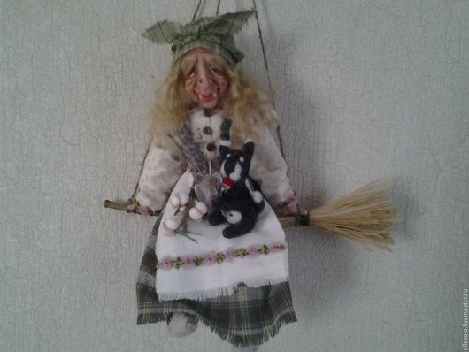 Коллекционные куклы ручной работы. Ярмарка Мастеров - ручная работа. Купить Баба Яга оберег для дома. Handmade. Зеленый