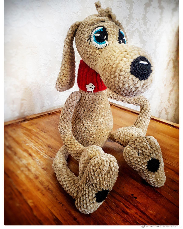 Вязаная собачка Арамис, Мягкие игрушки, Оренбург,  Фото №1